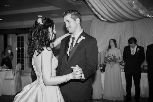first dance - black and white wedding photography - Clearwater Beach Wedding reception