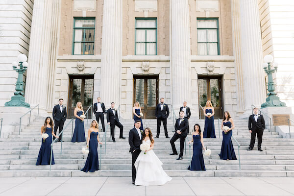 Tampa wedding. - Le Meridien Hotel Tampa -bride and groom with wedding party - wedding party on the steps of the Le Meridien Hotel Tampa
