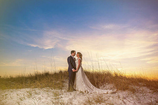 Special moments Event Planning x- Clearwater Beach wedding - Clearwater Beach wedding planner - Sandpearl Resort wedding - bride and groom on beach - bride and groom on beach at sunset
