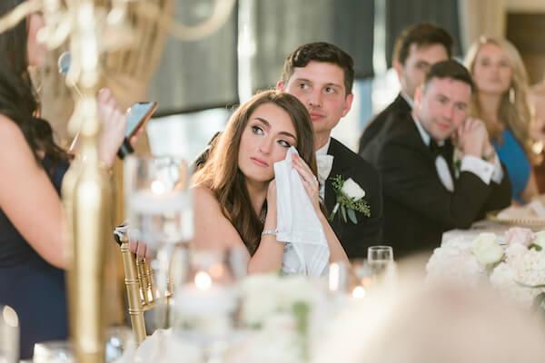 Tampa wedding - Tampa wedding reception - Rusty Pelican Restaurant wedding reception - bride crying during wedding toast