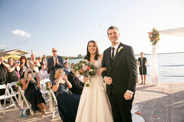 Just Married - Happy Bride and Groom - bride and groom with big smiles