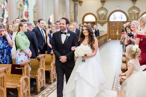 Tampa wedding - Tampa wedding ceremony - Sacred Heart Catholic Church Tampa wedding ceremony - bride walking down the aisle with father - bride's entrance - Catholic wedding ceremony
