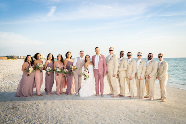 wedding party - wedding party photographs - wedding party on beach - wedding party on Saint Pete Beach