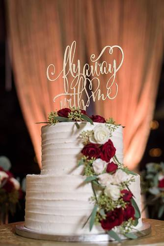 cake topper - gold cake topper - fly away with me cake topper - custom cake topper