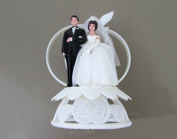 1960's cake topper - bride and groom cake topper - vintage cake topper - cake topper - plastic cake topper