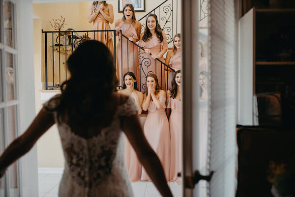 Florida wedding – Saint Petersburg Florida wedding – Saint Petersburg wedding – Greek wedding - bride- bridal party seeing bride for first time