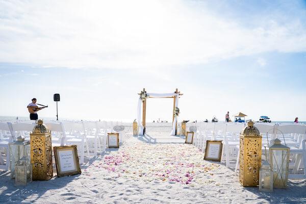 Sirata Beach Resort wedding - outdoor wedding ceremony - gold lanterns - bamboo wedding structure