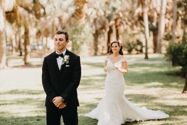 Florida wedding – Saint Petersburg Florida wedding – Saint Petersburg wedding – Greek wedding -  first look - bride and groom - bride walking up to groom