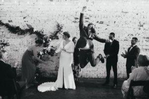 excited groom- just married