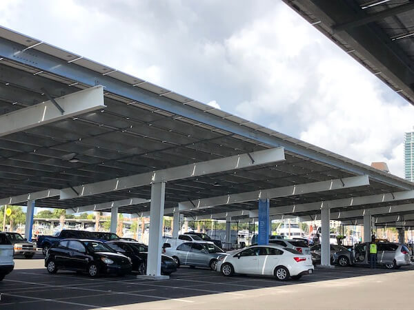 St Pete Pier - covered parking lot with solar panels - solar power