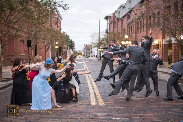 Harry Potter themed wedding with wand fight between bridesmaids and groomsmen