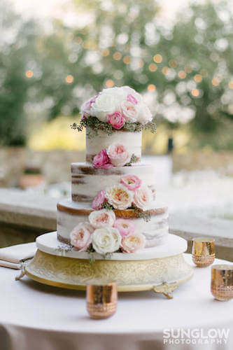 Tampa weddings – wedding cakes – cake stands – displaying your wedding cake - naked wedding cake on a silver stand