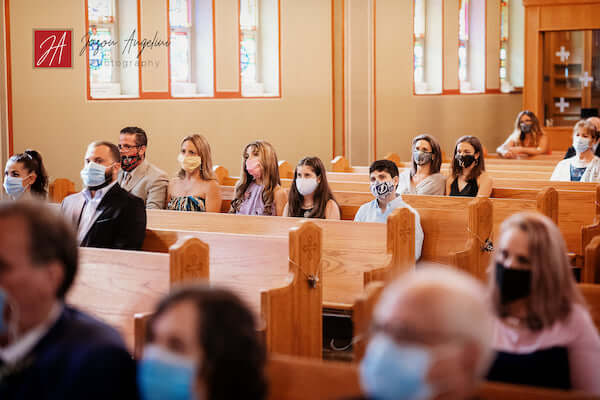 socially distant wedding guests wearing masks