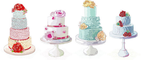 cakes on white cake stands - Tampa weddings – wedding cakes – cake stands – displaying your wedding cake