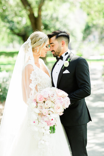 bride and groom standing head to head in wedding portrait