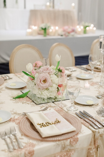 wedding reception table with custom menu cards, rose gold charger plates and gold name plaques