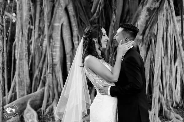 black and white photo of newlyweds in Sarasota