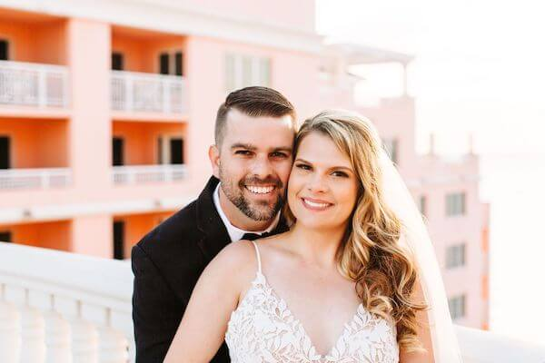 bride and groom on the Sky Terrace at the Hyatt Clearwater Beach