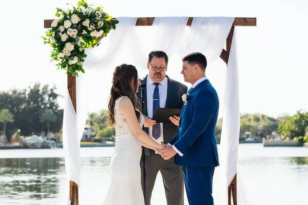 Bride and groom exchange wedding vows