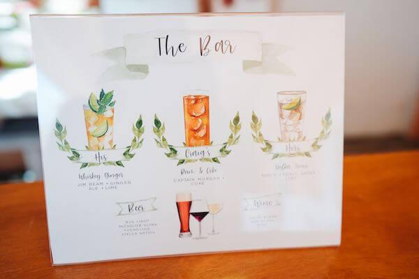custom drink menu for St Petersburg wedding