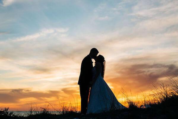 Sunset wedding photos on Clearwater beach