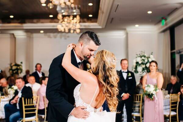 Bride and groom's first dance at their Clearwater Beach wedding reception
