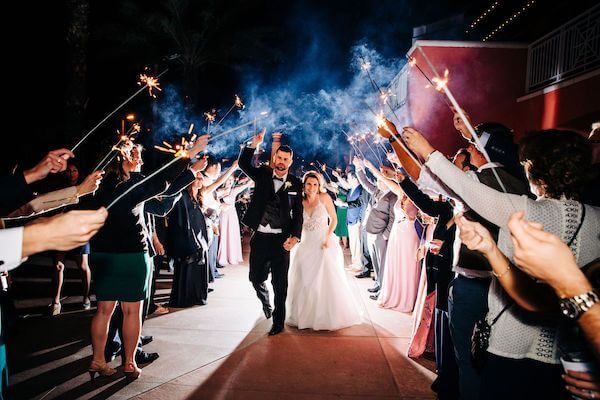 Bride and groom's sparkler exit at the Hyatt Clearwater Beach