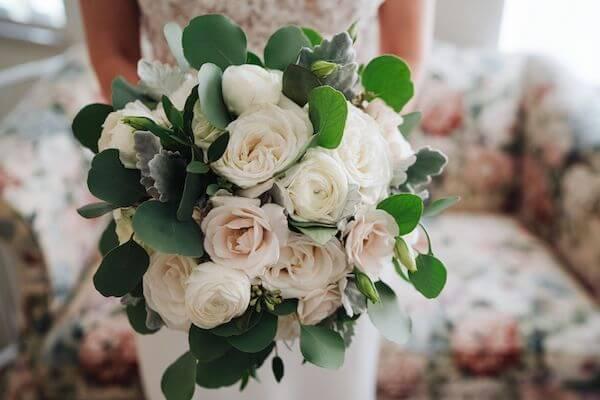 handled white blush and cream bridal bouquet