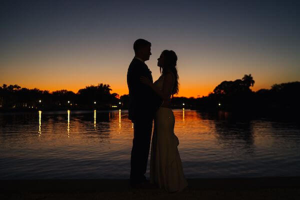 sunset photo of a bride and groom at St Petersburg Women's Club