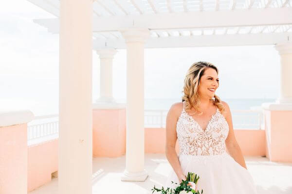 bride in a modern lace wedding gown at the Hyatt Clearwater beach
