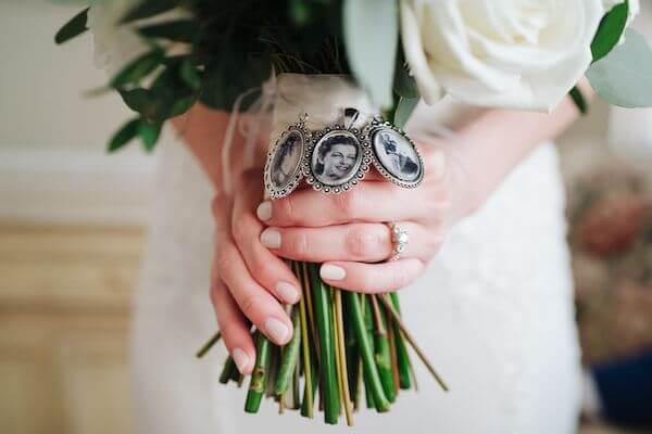 bridal bouquet with three memorial lockets