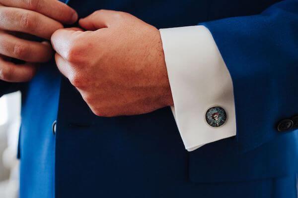 groom wearing Grateful Dead cufflinks