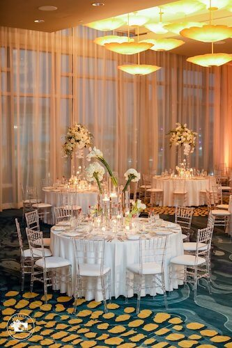 White wedding decor in the Opal Ballroom on Clearwater Beach
