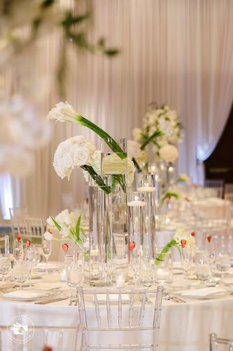 modern white wedding reception decor