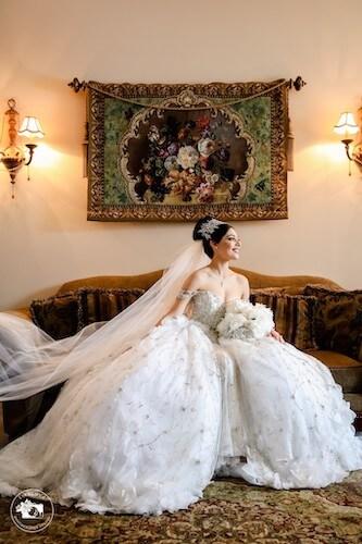 bride in her fairytale wedding gown