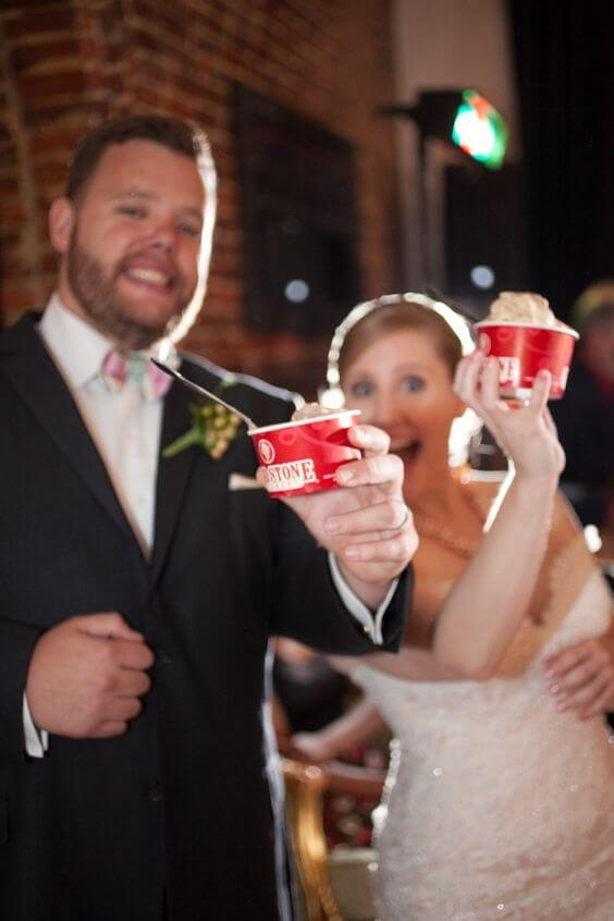 couple enjoying Coldstone Cremery ice cream at their wedding reception