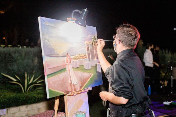 Live event painter at a Clearwater Beach wedding
