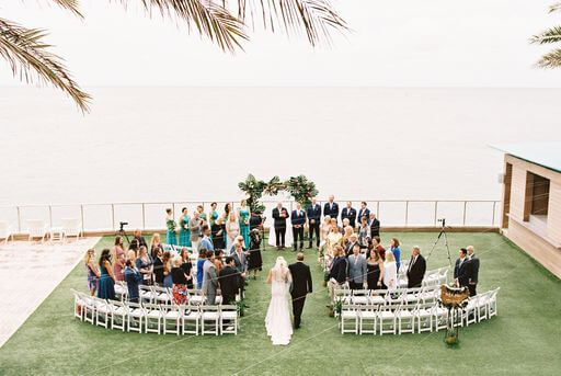 overhead view of a tropical inspired wedding at the Opal Sands Resort on Clearwater beach