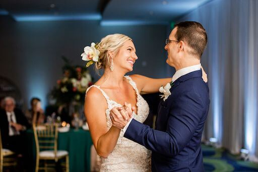 Clearwater Beach couple dancing their first dance to At Last by Etta James