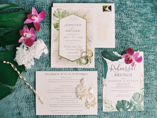 tropical inspired wedding invitations for a Hawaiian themed Clearwater Beach wedding