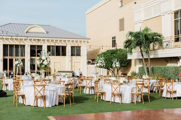 Outdoor destination wedding reception at the Sandpearl Resort in Clearwater Beach