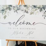 a welcome sign at a Saint Petersburg Woman;s Club wedding reception created by Special Moments Event Planning