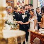 bride and groom during Greek Orthodox wedding