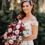 Saint Petersburg bride holding a cascading pink burgundy and white bridal bouquet