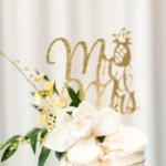 custom gold cake topper with pineapples design