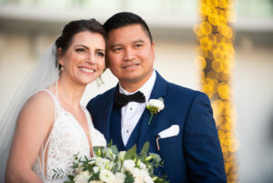 Newlywed bride and groom after their Opal Sands wedding ceremony