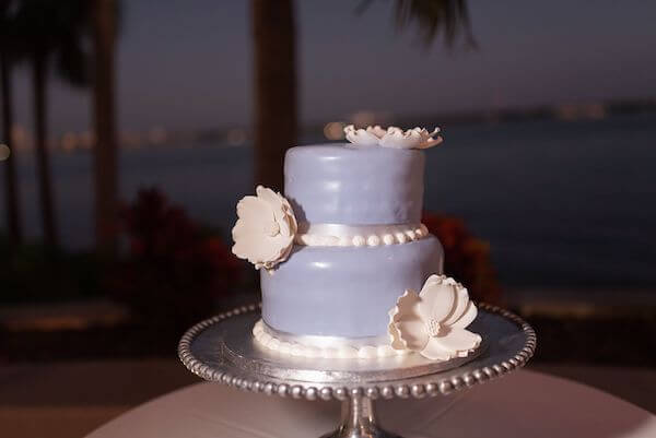 Intimate lavender wedding cake for Sand Key wedding