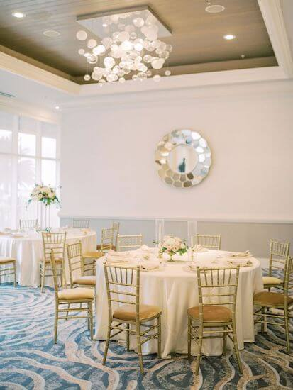 ivory, gold and pink wedding decor at the Hyatt Clearwater
