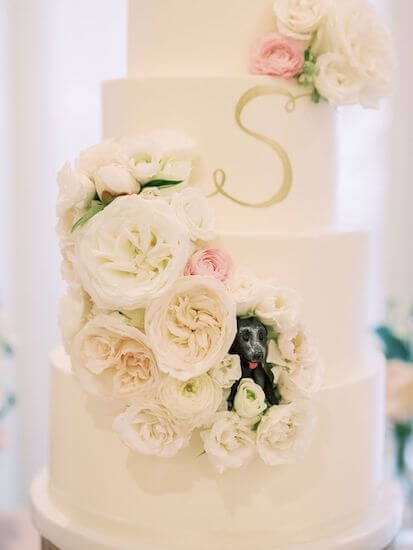 adorable puppy figurine peaking out of wedding cake