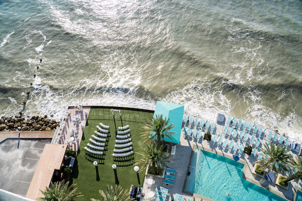 aerial view of the Opals Sands Event Lawn